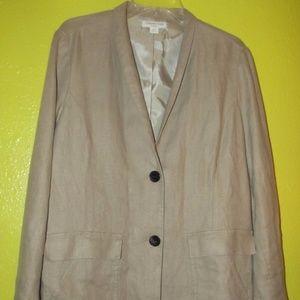 Long Coldwater Creek Linen Jacket Blazer TAN